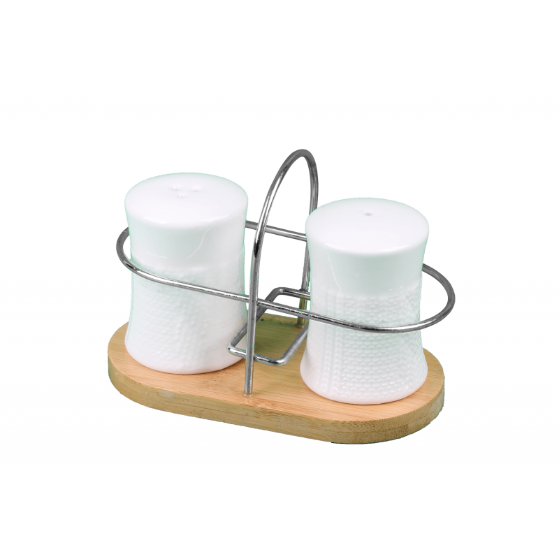 Porcelain Salt&Pepper Container Metal Stand