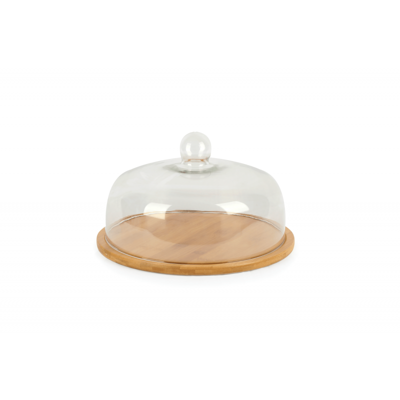 Cake Holder Glass Cover Wood Stand