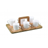 Porcelain Coffee Cups 6pcs Wood Stand